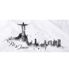 Silhouette ink Rio de Janeiro vector image