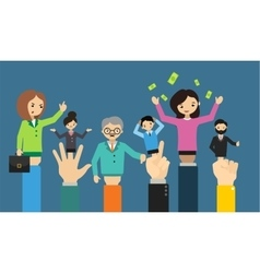 Businessman hand doll people different business vector image