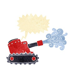 Cartoon army tank with speech bubble vector