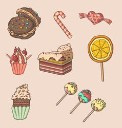 Cute dessert and candy set vector