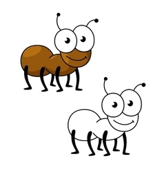 Cartoon brown worker ant insect vector
