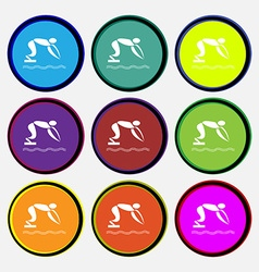 Summer sports diving icon sign nine multi colored vector