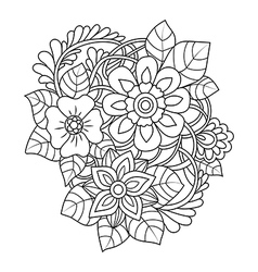 Hand drawn design element doodle art flowers vector