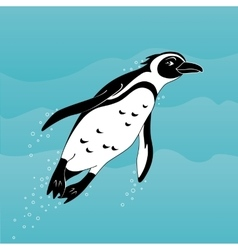 Cute cartoon african penguin swimming in the sea vector image