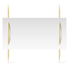White paper on toothpicks vector image