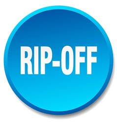 Rip-off blue round flat isolated push button vector