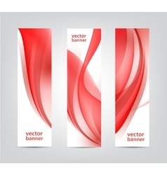 Set of abstract wavy red banners vertical vector