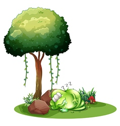 A fat green monster sleeping under the tree vector image vector image