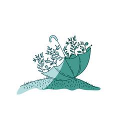 Aquamarine hand drawn silhouette of umbrella with vector