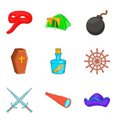 Archaeology icons set cartoon style vector