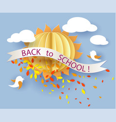 Back to school card with birds leaves and sun vector