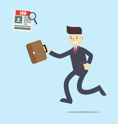 business man running to find a job in newspaper vector image vector image