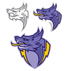 dragon head sport mascot vector image