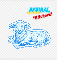 farm animal lamb in sketch style on colorful vector image