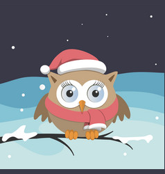 female owl with santa claus hat on a branch vector image vector image