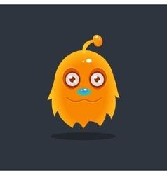 Furry yellow alien vector