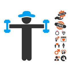 Gentleman fitness icon with valentine bonus vector