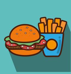 hamburger and fries french food icon vector image vector image
