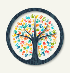 hand print tree of diverse community team help vector image vector image