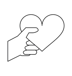 Hand with heart romantic valentines day outline vector
