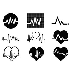 heartbeat icons vector image