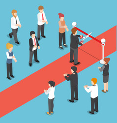 Isometric businessman cutting red ribbon at grand vector