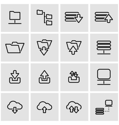 Line ftp icon set vector