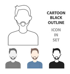 man with beard icon cartoon single avatarpeaople vector image