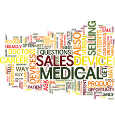 Medical devices sales career text background word vector