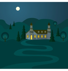 Night landscape with hospitable house vector