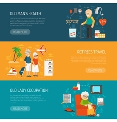 Old people flat horizontal banners set vector