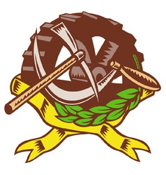 Pick ax with sickle cog gear olive leaf vector