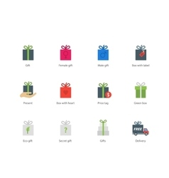 Present boxes color icons on white background vector image vector image