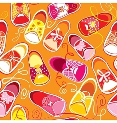Seamless pattern colored children gumshoes on vector