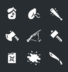 set of survival tools icons vector image