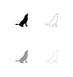 silhouette of the wolf black and grey set icon vector image vector image