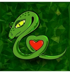 Snake and heart vector