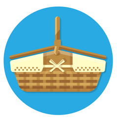 wooden basket for summer picnics vector image vector image