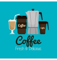 Set icon coffee hot and fresh graphic vector