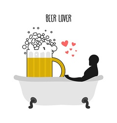 Beer lover beer mug and man in bath joint bathing vector
