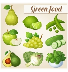 Set of cartoon food icons green food pear lime vector