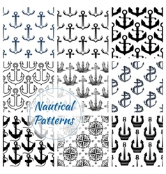 Anchor and compasses nautical seamless pattern set vector image