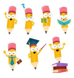 Cute cartoon pencil characters set vector