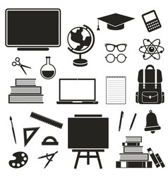 School black icons set isolated on white vector