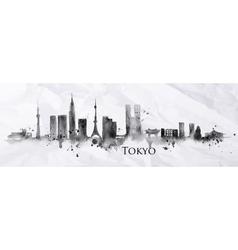 Silhouette ink Tokyo vector image