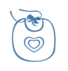 Baby bib blue with heart symbol vector