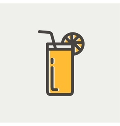 Orange juice glass with drinking straw thin line vector