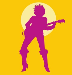 Woman playing guitar silhouette vector