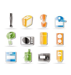 Simple kitchen and home equipment icons vector