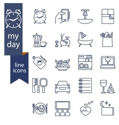 Set of outline icons for lifestyle vector